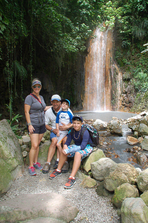 the Family at diamond Falls - St. Lucia