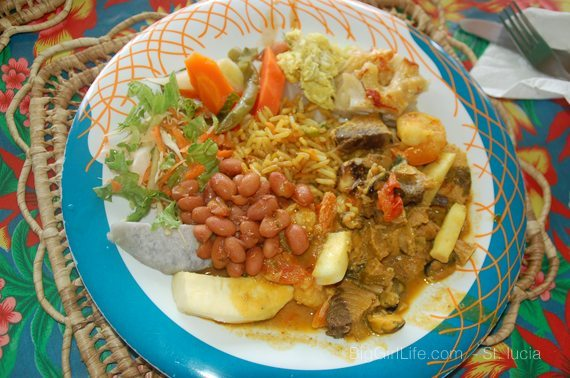 a local lunch in Soufriere, St. Lucia