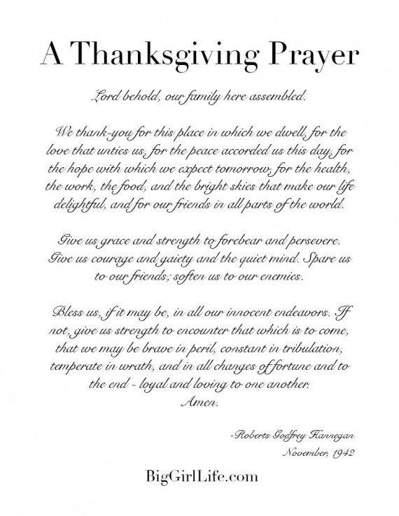 Thanksgiving prayer printable