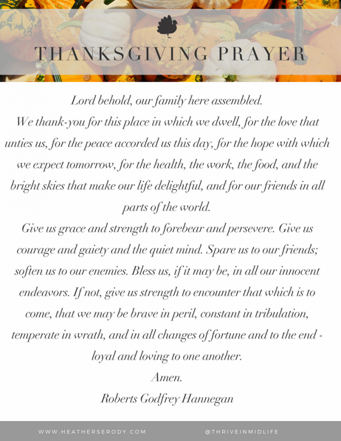 Thanksgiving Prayer {printable} | Thrive In Midlife