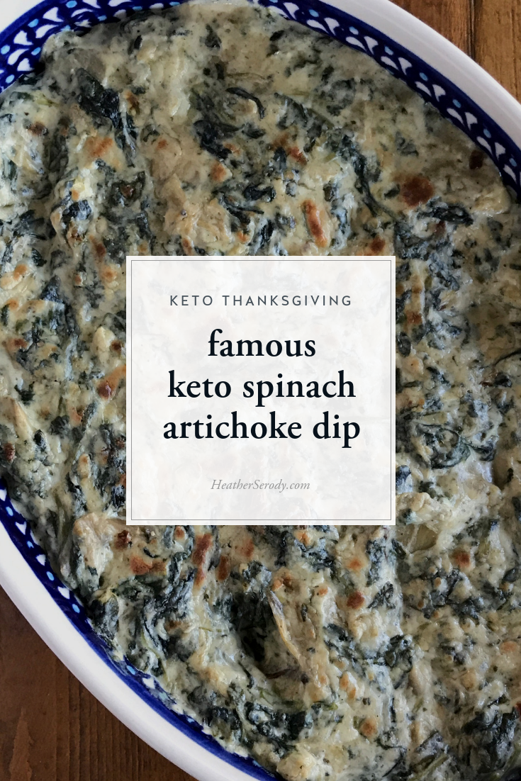I went on a mission to create the best damn spinach artichoke dip and what resulted is the best damn spinach artichoke dip I've ever had; destined to be famous, just like my famous grilled salmon recipe. It's a great appetizer or even side dish for Thanksgiving dinner, too. #keto #thankgiving #ketorecipes #ketoholiday