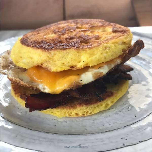 low carb bacon egg & cheese breakfast sandwich - Thrive In Midlife
