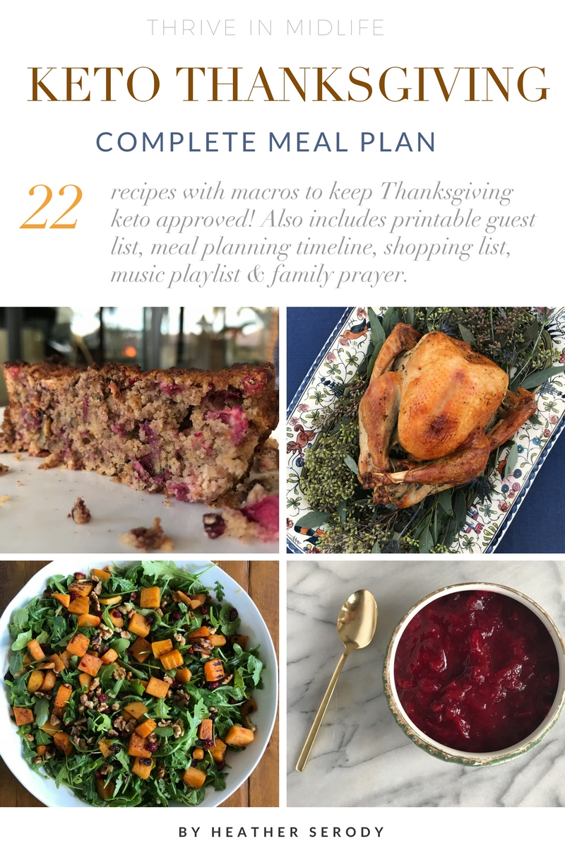 I created this meal plan to help you transition over to a complete keto-friendly low-carb Thanksgiving meal without sacrificing any taste. If you were to eat a serving of each of these recipes, you would end up consuming 2,250 calories, which breaks down to 78% fat (178 grams), 10% carbohydrate (57.5 total carbs with 23 grams fiber), and 19% protein (108.5 grams). This meal plan will help you maintain, and not gain any weight over Thanksgiving. #keto #thankgiving #ketorecipes #ketoholiday