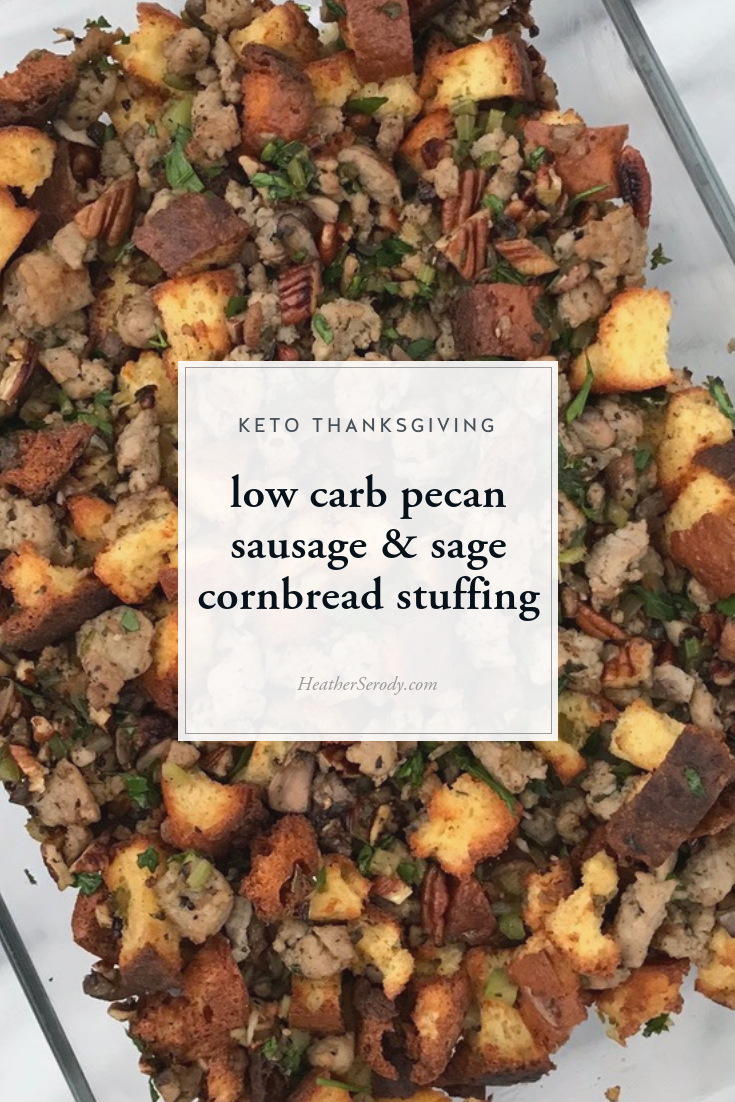 I cracked the code for tasty brown butter and sage keto cornbread, which serves as the base for this savory stuffing. If you're not a fan of cornbread stuffing, just leave out the corn extract when making the skillet cornbread and you'll have a regular white bread loaf to cube & toast for the base of this stuffing. • Thrive in Midlife