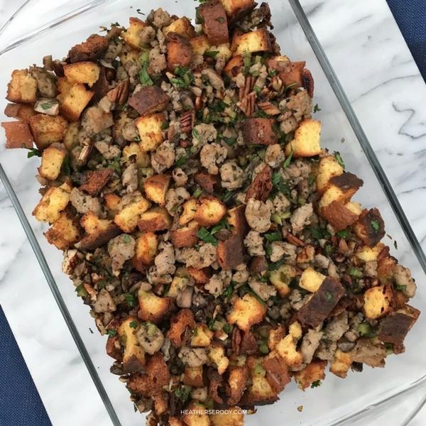 low carb pecan sausage & sage cornbread stuffing- Thrive In Midlife (1)
