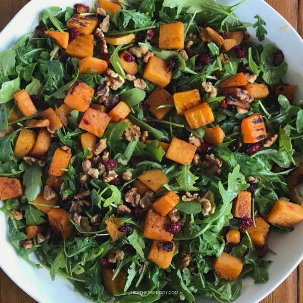 roasted butternut squash cranberry salad with maple vinaigrette {low carb} - Thrive In Midlife