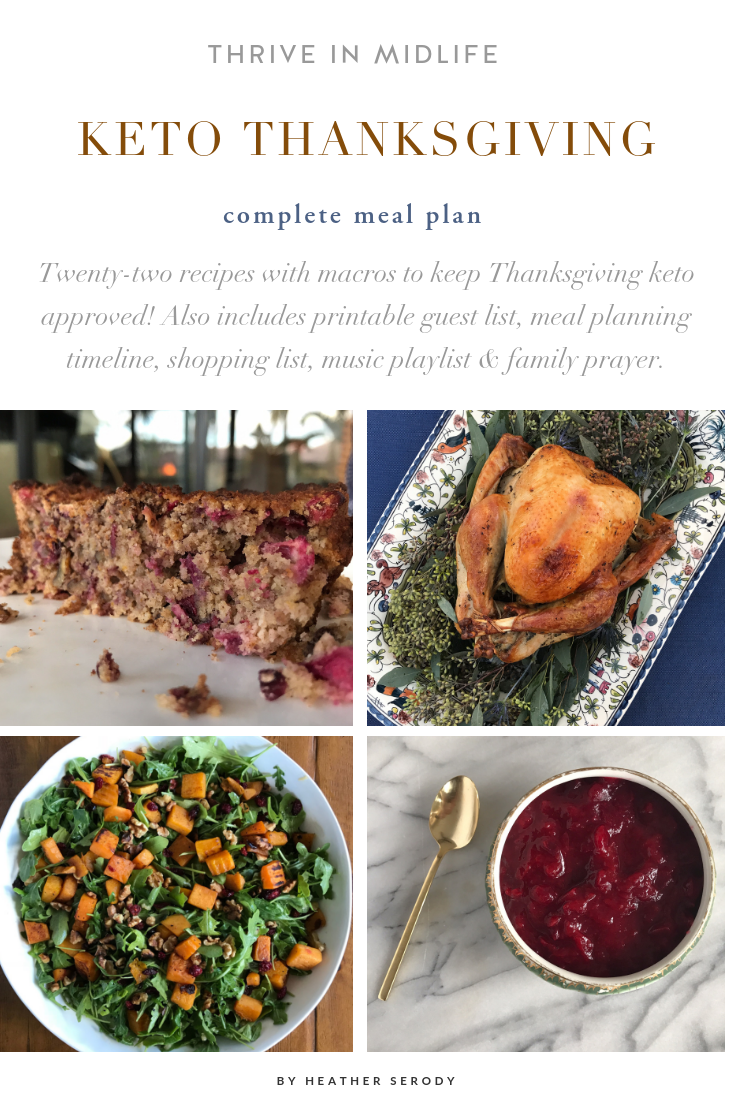 A keto approved Thanksgiving Meal Plan includes 22 recipes with macros 2. A handy printable headcount list & turkey size calculator. 3. Meal planning timeline to help you plan ahead, cook recipes ahead of time and stay organized. 4. Special items Amazon shopping list to make buying special keto ingredients easy. 5. A Thanksgiving Spotify playlist. 6. A printable Thanksgiving family prayer. #keto #thankgiving #ketorecipes #ketoholiday